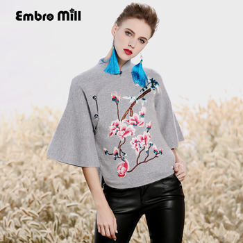 Women floral tops autumn winter Chinese style royal embroidered short vintage rabbit hair cashmere warm coat jacket female M-XXL