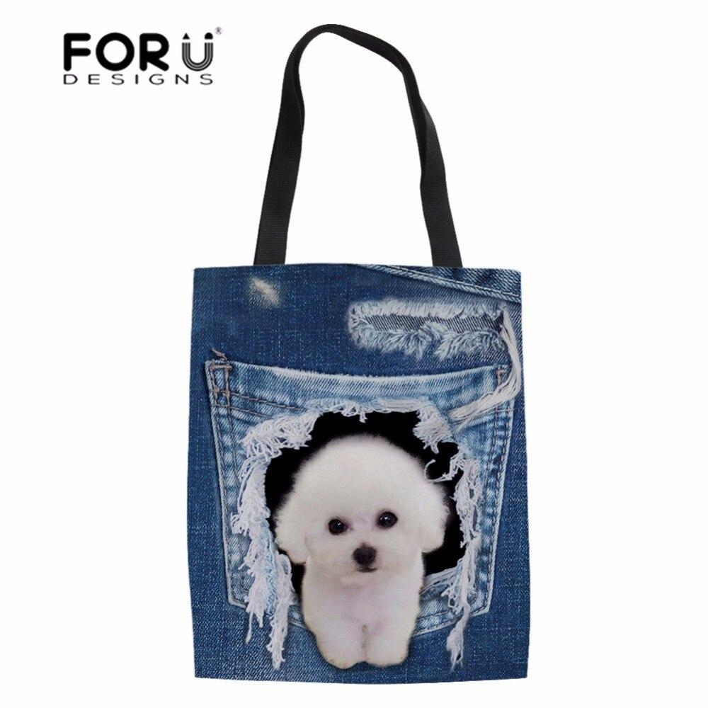 0f9f6a812fc1 FORUDESIGNS/сумки-шопперы 3D джинсы с животным принтом собаки кота женская  сумка через плечо тканевая сумка для девочек школьные сумки Льняная су.
