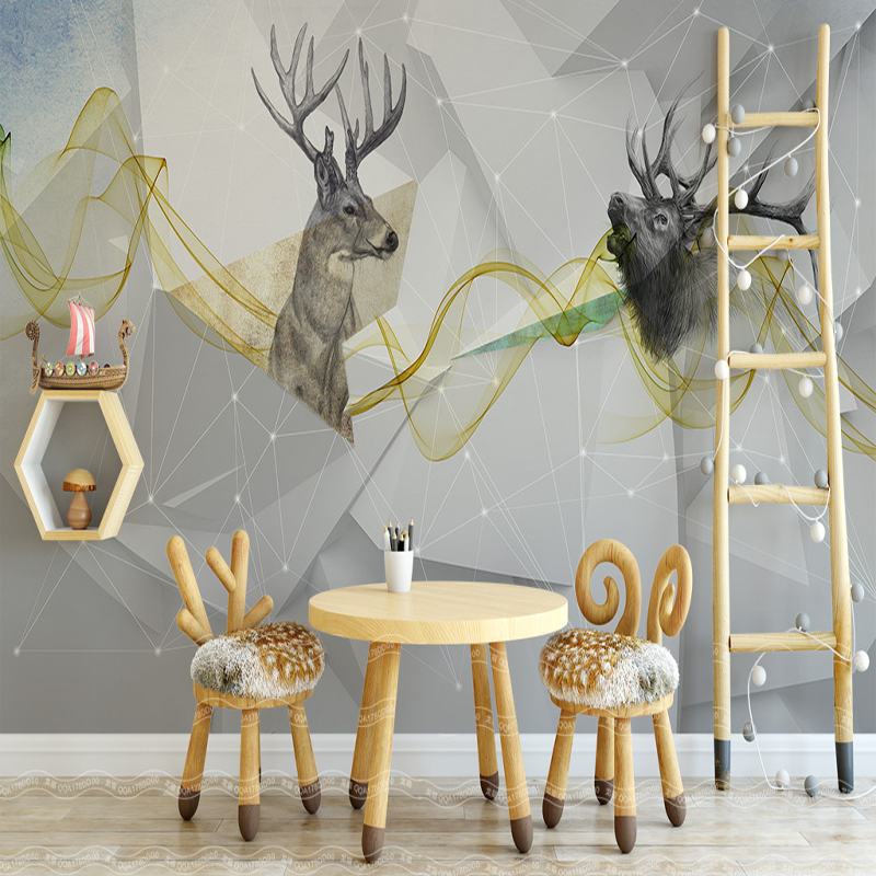 Custom 3D Background Wallpaper Nordic Abstract Deer Simple Fashion Mural Kids Room Living Roon Bedroom Large Scale Wallpaper book knowledge power channel creative 3d large mural wallpaper 3d bedroom living room tv backdrop painting wallpaper