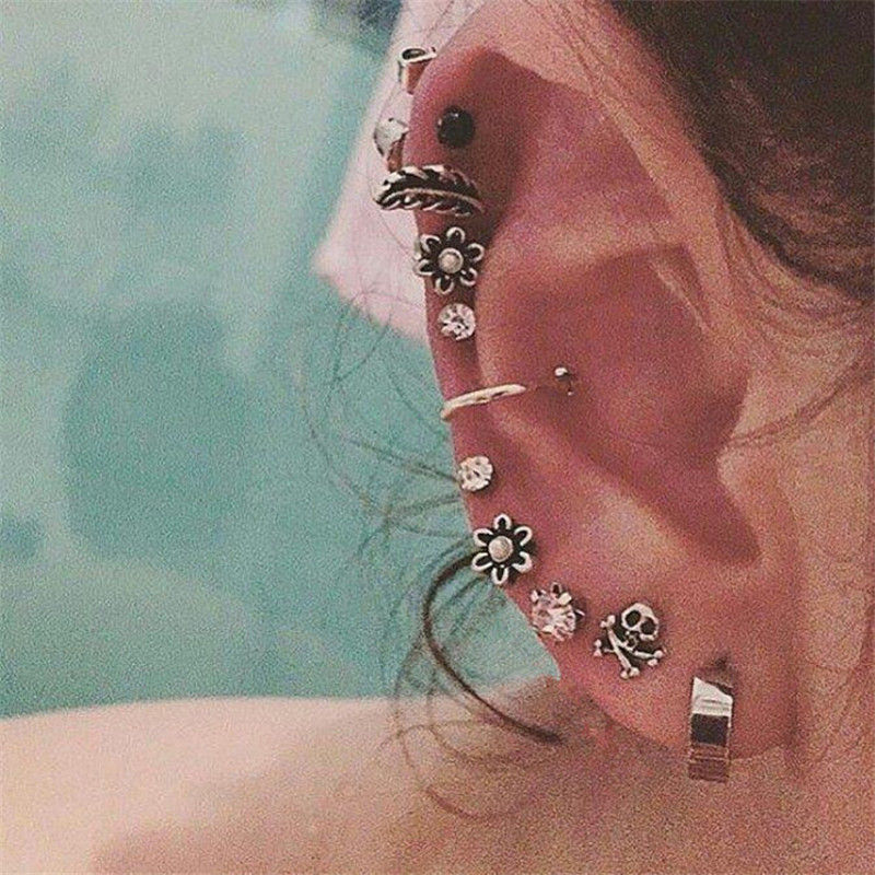 Starbeauty 9 Pcs Lot Skull Flower Leaf Fake Ear Piercing Helix