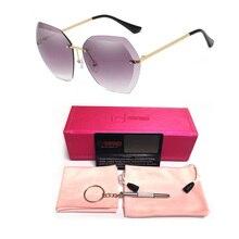 2019 New Luxury Sunglasses Italy Brand Designer Lady Women Vintage Rimless Sun Glasses UV400 Rivet Female Shades Fashion Eyewear
