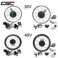 Ebike Bicycle Kit 36V 250W 350W 500W 48V 500W 1000W 1500W 20 29 700C LCD Electric Bike Rear Motor Wheel Conversion Kit