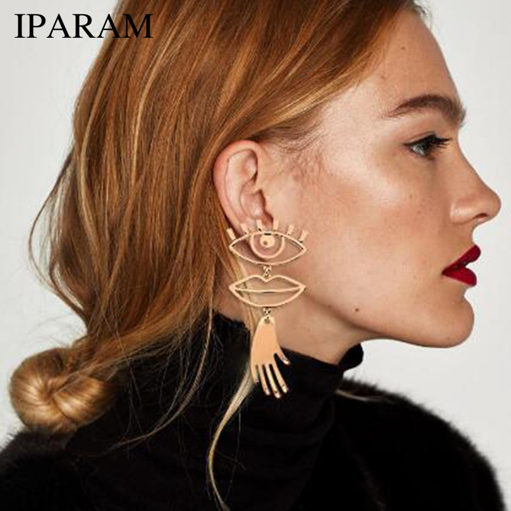 IPARAM Abstract Art Gold Color Chic Palm Statement Dangle Earrings Hyperbole Big Eyes Tass