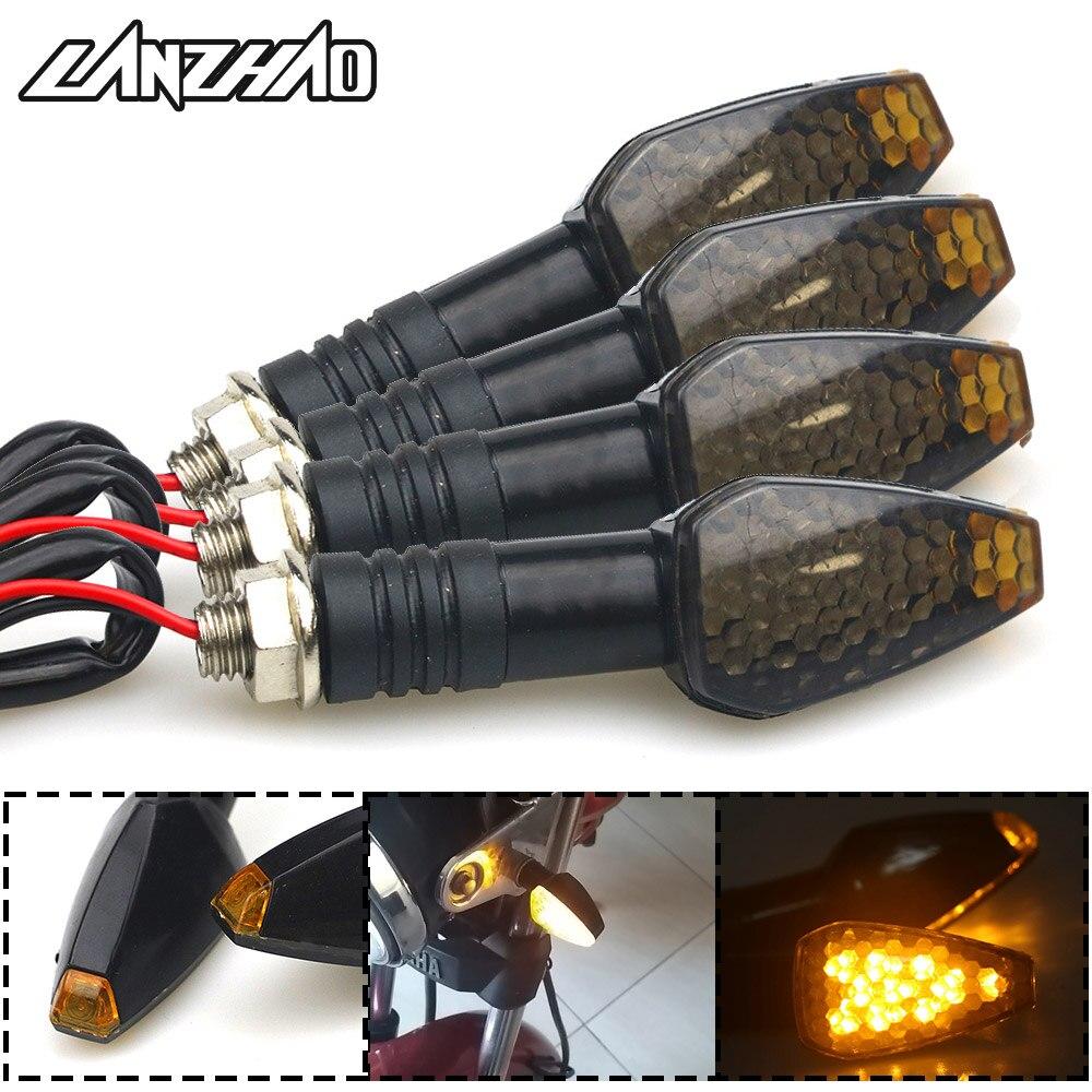 2 Pair Motorcycle Turn Signal Lights Triangle LED Sequential Turn Signals Indicators Universal for Honda Kawasaki Yamaha Ducati