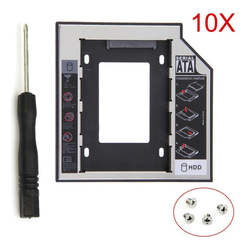 10 pcs/pack HDD Caddy 12.7mm Aluminum Optical SATA 3.0 Hard Disk Drive Box Enclosure DVD Adapter 2.5 SSD 2TB For Laptop CD-ROM zheino sataiii 256gb ssd with aluminum 12 7mm caddy laptop sata ssd hdd frame caddy adapter bay cd dvd rom optical for laptop