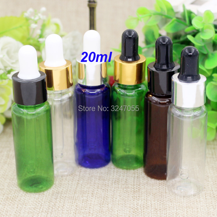 20ml 20/50/100pcs Clear Plastic Empty Cosmetic Essential Oil Bottle, Blue PET Essence Dropper Container, Brown Cosmetic Bottle стоимость