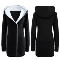 Autumn Winter Fashion Women Long Hooded Sweatshirt Warm Fleece Zip Up Outerwear Casual Slim Solid Hoodies