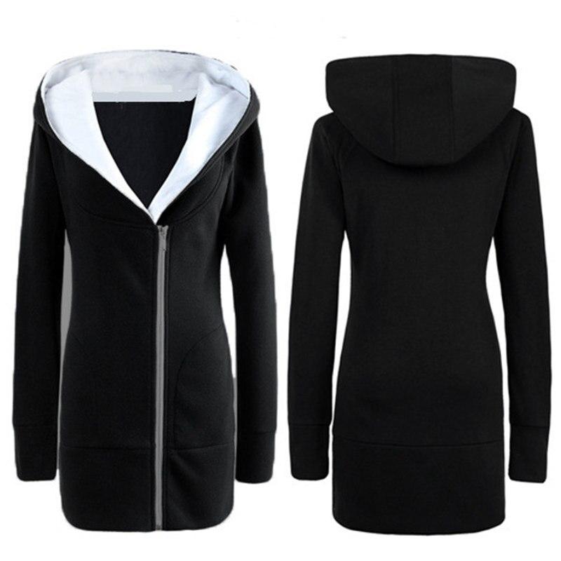 2016 Autumn Winter Women Long Hooded Coats Female Warm Fleece Zip Up Outerwear Casual Slim Solid Hoodies Jacket Plus Size