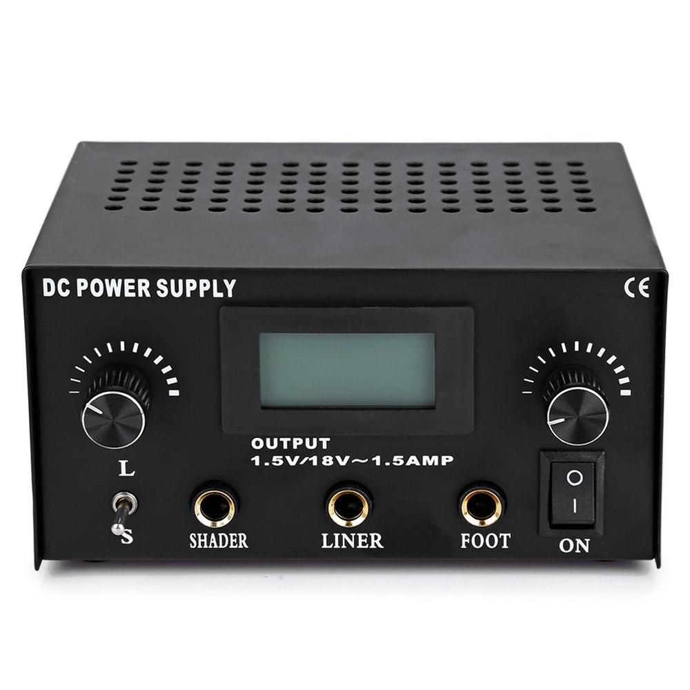 Digital Dual Cast Iron Tattoo Power Supply For Tattoo Machine Gun Power Kit Set Supply Free Shipping TPS09#