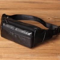 Men Genuine Leather Waist Bag For Male Chest Bags Travel Cell/Mobile Phone Bag Travel Fanny Pack Shoulder Messenger Bags
