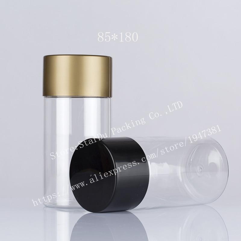 900ml Plastic Bottles With Black Lids or Gold lids, 85mmx180mm Transparent Plastic Tea And Biscuit  Jar,Sealed Cans