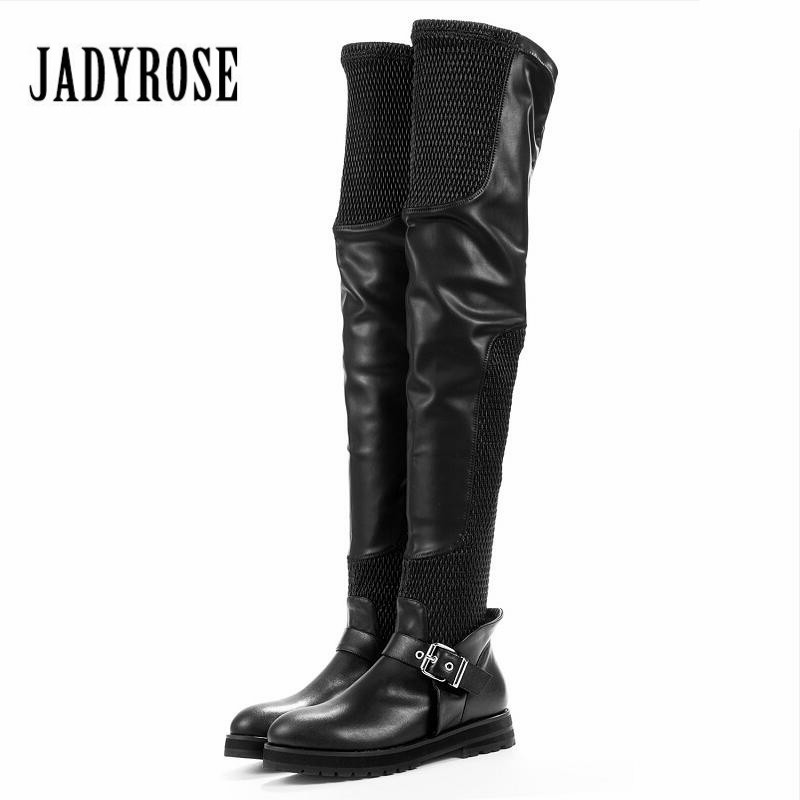 Jady Rose Black Women Thigh High Boots Flat Over The Knee Boots Genuine Leather Slim Fit Stretch Flat Boot Female Long Boats ppnu woman winter nubuck genuine leather over the knee snow boots women fashion womens suede thigh high boots ladies shoes flats