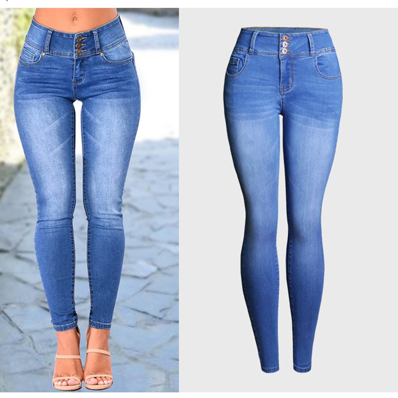 Autumn Winter Plus Size Jeans Women Denim Trousers Mid Waist Skinny Hips Casual Elastic Pencil Pants Ladies Buttons Denim Pants 2017 new jeans women spring pants high waist thin slim elastic waist pencil pants fashion denim trousers 3 color plus size