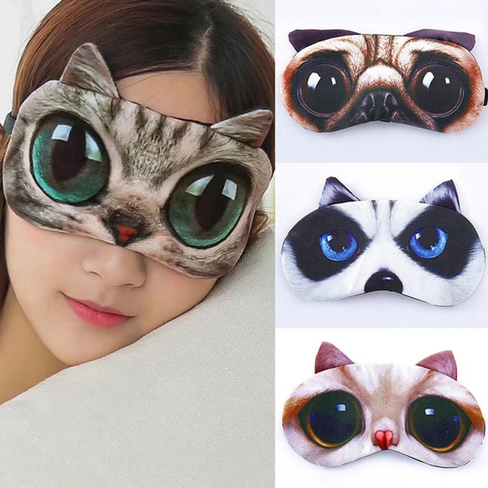 Cute Cat Eye Patch Sleep Mask Eye Mask Eyeshade Cover Shade Natural Sleeping Women Men Soft Portable Blindfold Travel Eyepatch Skin Care Tool Beauty & Health