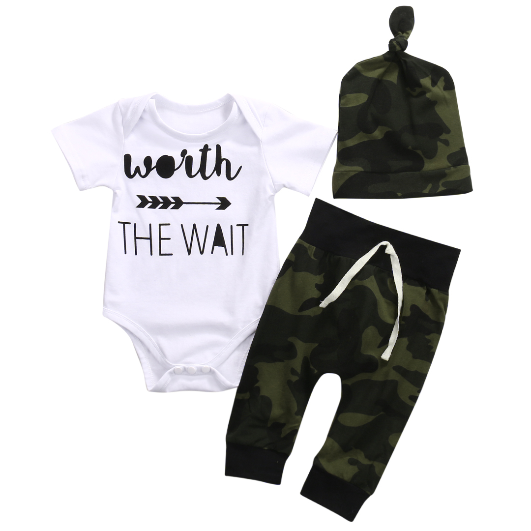 Infant Baby Boy Short Sleeve Rompers Camouflage Pants Hats Outfits Clothes Sets Cotton Worth The Wait Letters Print Jumpsuit