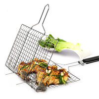 Outdoor Barbecue Rack Non Stick Stainless Steel Mesh Baskets Clamp BBQ Tool Grill Christmas Party Accessories