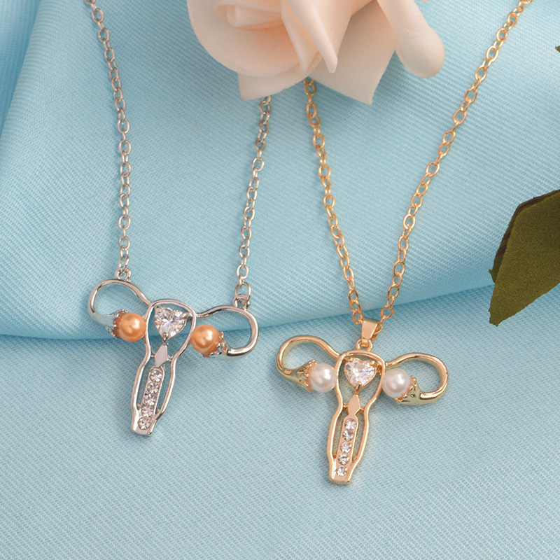 2018Female Womb pendant necklace Gold Silver zircon pearl Organ medical jewelry Gynecology Medicine Symbol gift for Doctor Nurse