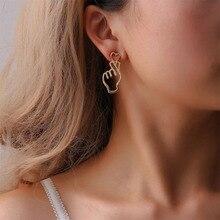Cute Personalized Love Heart Earrings Brinco Hollowing Out Heart Gesture Earrings Heart Shape Drop Dangle Earrings Gift WD198