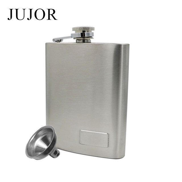 JUJOR 6 OZ Stainless Steel Hip Flask Classic Frosted Bigger Capacity Silver Portable Whiskey Bottle with a Funnel