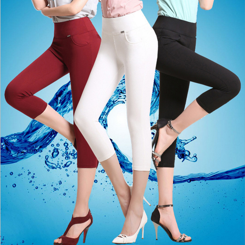 S-6XL plus size pants women 2018 summer high waist stretch pencil pants capris women Trousers