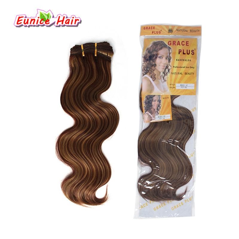Crochet hair synthetic body wave hair 16 18 20inch Brazilian Body Wave synthetic weave bundles hair extensions euncie ...
