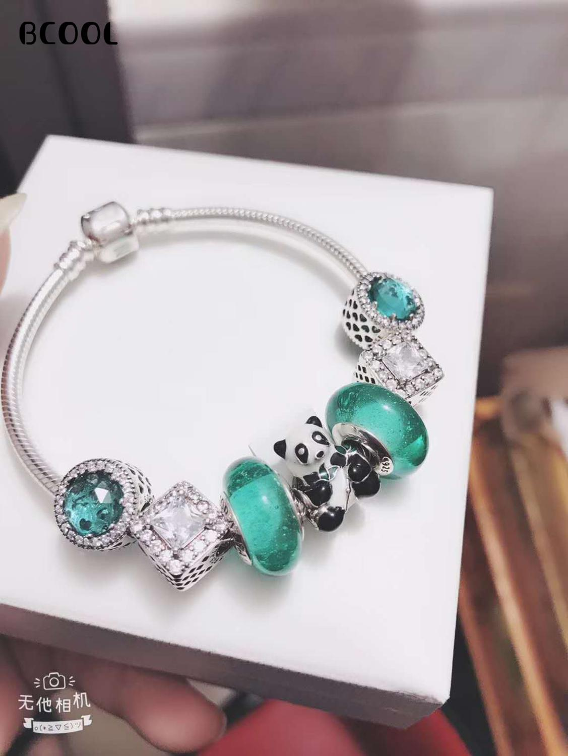 925 Sterling Silver Original 1:1, Fashionable Silver Charm Bracelet, Suitable For Female Panda Crystal Beads Bracelet Jewelry