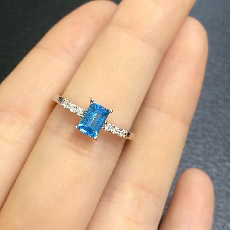 Anillos Qi Xuan_Blue Stone Fashion Jewelry Rings_Finger Rings_S925 Solid Silver Fashion Blue Ring_Manufacturer Directly Sales туфли shoiberg туфли на каблуке