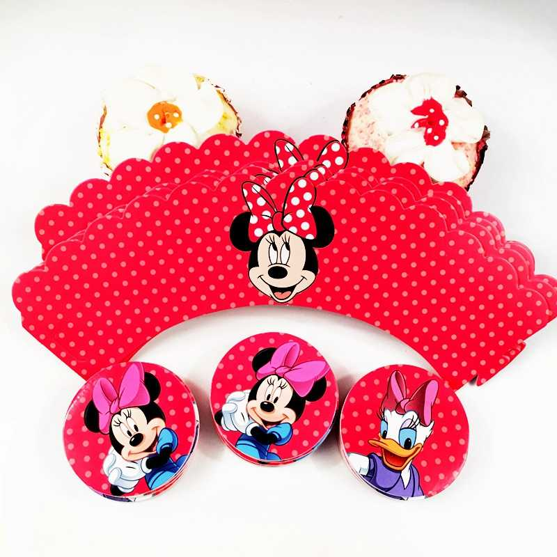 120pcs Cupcake Wrappers Topper Red Minnie Mouse Donald Duck Theme Party Decoration kids Girl Baby Shower Birthday Cake Supplies