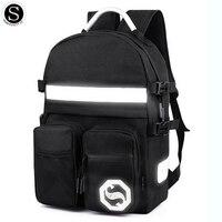 Senkey Style Men Backpack Password Anti theft Glow Luminous Letter Fashion Designer Laptop Backpack School Bags For Teenagers