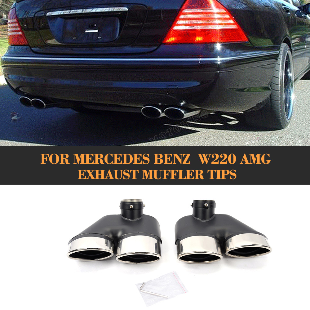 Statinless Steel Exhaust Pipe for Mercedes Benz  W220 AMG muffler tips for Mercedes Benz w220 1pair car accessorise brand stainless steel hole rear exhaust pipe tip muffler for mercedes benz w221 w164 amg 2005 2013