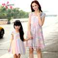 Brand Mom And Daughter Dresses Pink Color Lace Tutu Dress Family Look Matching Mother Daughter Summer Style Short Sleeve Dresses