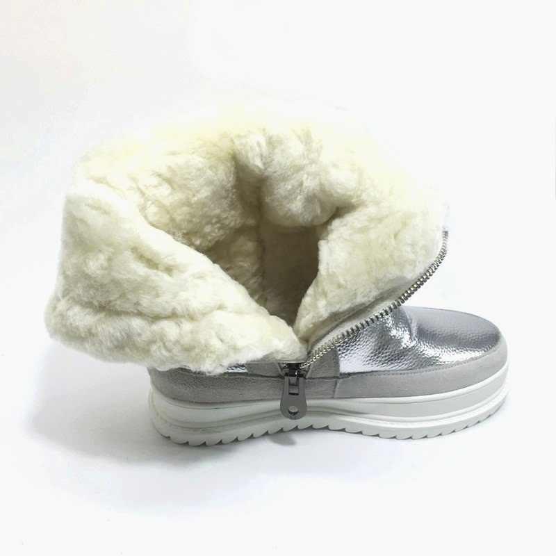VANKARING מותג חורף מגפי עור פרווה חם שלג קרסול מגפי אישה אופנה סיבוב קצר מגפי פלטפורמת טריז מגפי רכיבה