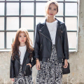family matching clothes family clothing fashion boys/girls PU leather outerwear zipper matching mother daughter clothes