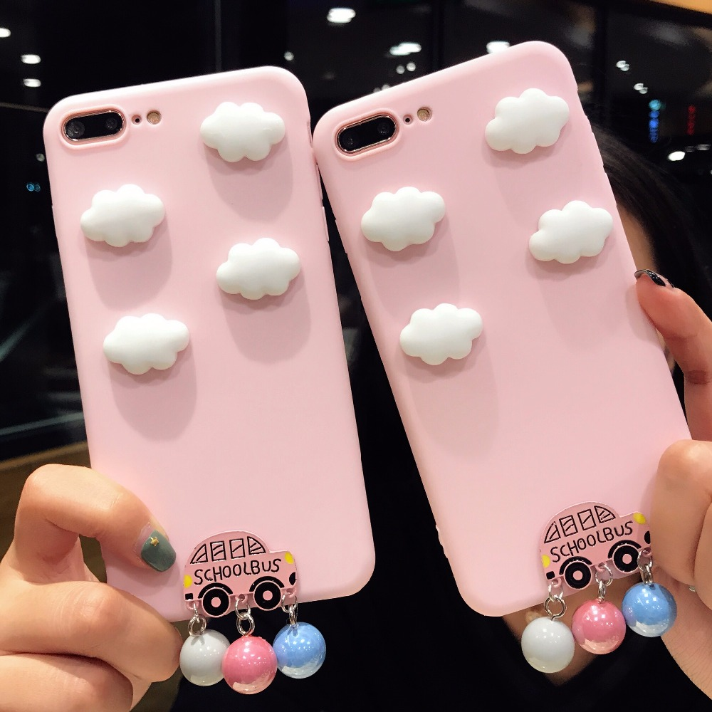 3D White Clouds Cartoon Phone Cases For iPhone 6 6S Plus Cute Bell School Bus Soft Silicone Cover Case For iPhone 7 Plus X 8 6 S