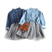 Girls Summer Long Sleeve Denim Dress Knee Length Tulle Tutu Dress Spring Autumn dress for Kids Baby Children 1-8 Years