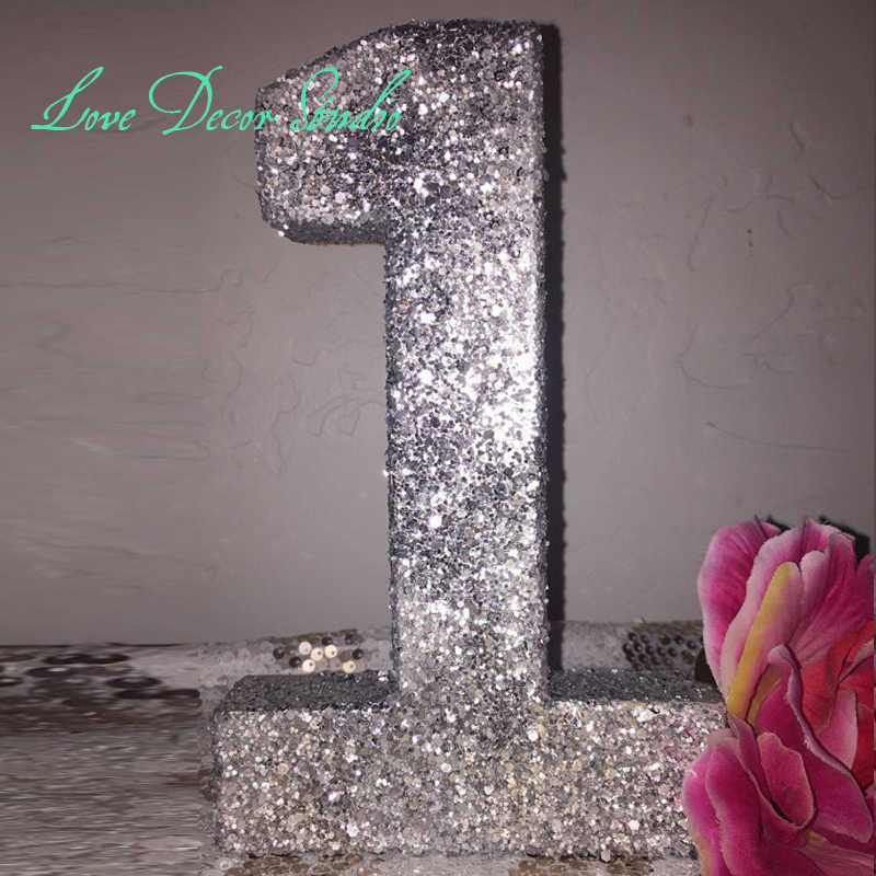"Glittered Number 1- First Birthday Prop-Photo Prop-Chose any numbe 8""tall"