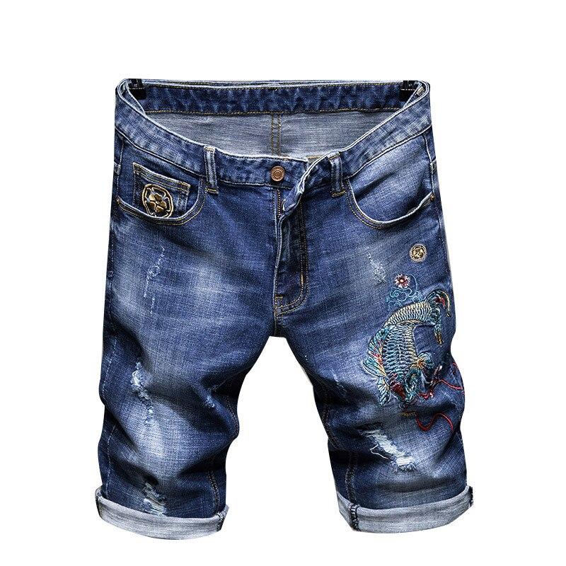 Sokotoo Men's Carp Fish Embroidered Blue Denim Shorts Summer Slim Straight Holes Ripped Jeans