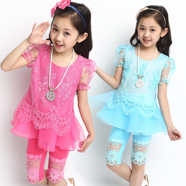 Children's clothing 2015 summer new girl's  chiffon organza embroidered short-sleeve capris set
