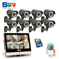 Plug And Play 8CH POE NVR CCTV System 12 LCD Screen 1080P HD Outdoor Manual Varifocal