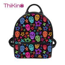 Thikin Candy Flower Skull Backpack for Ladies Girls Dog Pattern Travel Mochila PU Mini Zipper Schoolbag Student Preppy Style Bag