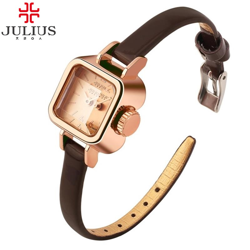 Prix pour 2016 JULIUS Quartz Marque Lady Montres Femmes De Luxe Rose Or Vintage Carré En Cuir Robe montre-Bracelet Relogio Feminino Montre