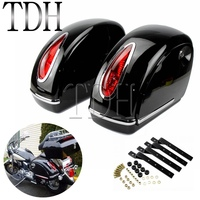 2Pcs Motorcycle Saddlebags Hard Saddle Bag Side Boxs Case Luggage Tank w/ Light For Harley Roadster Road King Custom