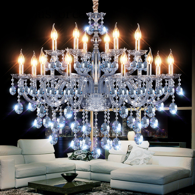 New Mediterranean Fantasy Crystal Chandelier Bar Coffee Shop Clothing Store  Post Modern Personality Water Blue Chandelier