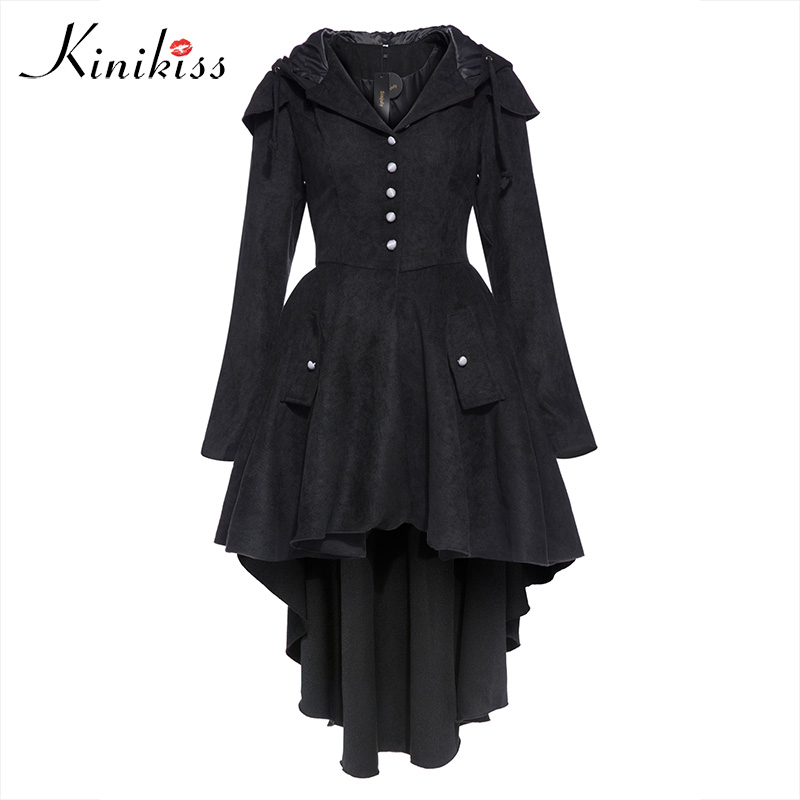 Kinikiss 2018 Gothic coat Women Trench Coats Plus Size Black Hooded Asymmetric Windbreaker Street Vintage Goth coat Outwear