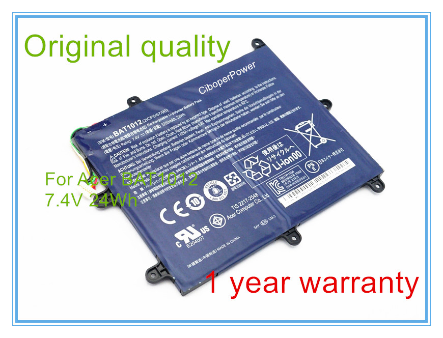 24Wh 7.4V BAT-1012 laptop battery for BAT-1012, BAT1012, 2ICP5/67/90, BT.00203.011 for TAB A200 A520 Series bamboo luminious shine 250