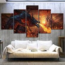 Fotos modulares arte da parede lona 5 painel fogo dragão mundo de warcraft jogo quadros impressos cartaz sala estar decoração casa