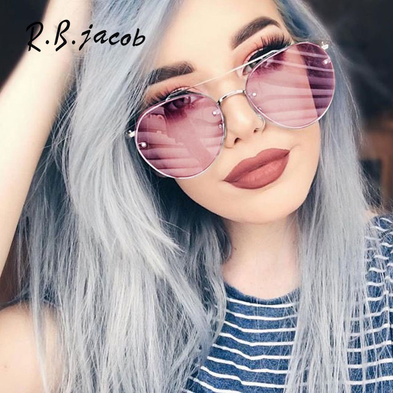 2017 New Arrival Women Brand Designer Clear Pink Sunglasses Lady Vintage Oval Transparent Sun Glasses Summer Fashion