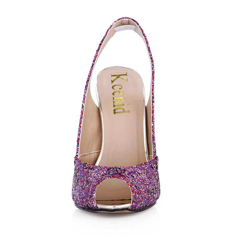 Kcenid 2018 date sexy peep toe métal talons hauts pompes chaussures scintillantes femmes populaire violet slingbacks parti chaussures de mariage