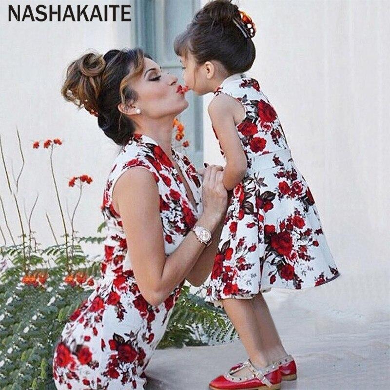 7e19ac0fa3c23 NASHAKAITE Mommy And Me Clothes Sleeveless Print Slim Mini Dress ...