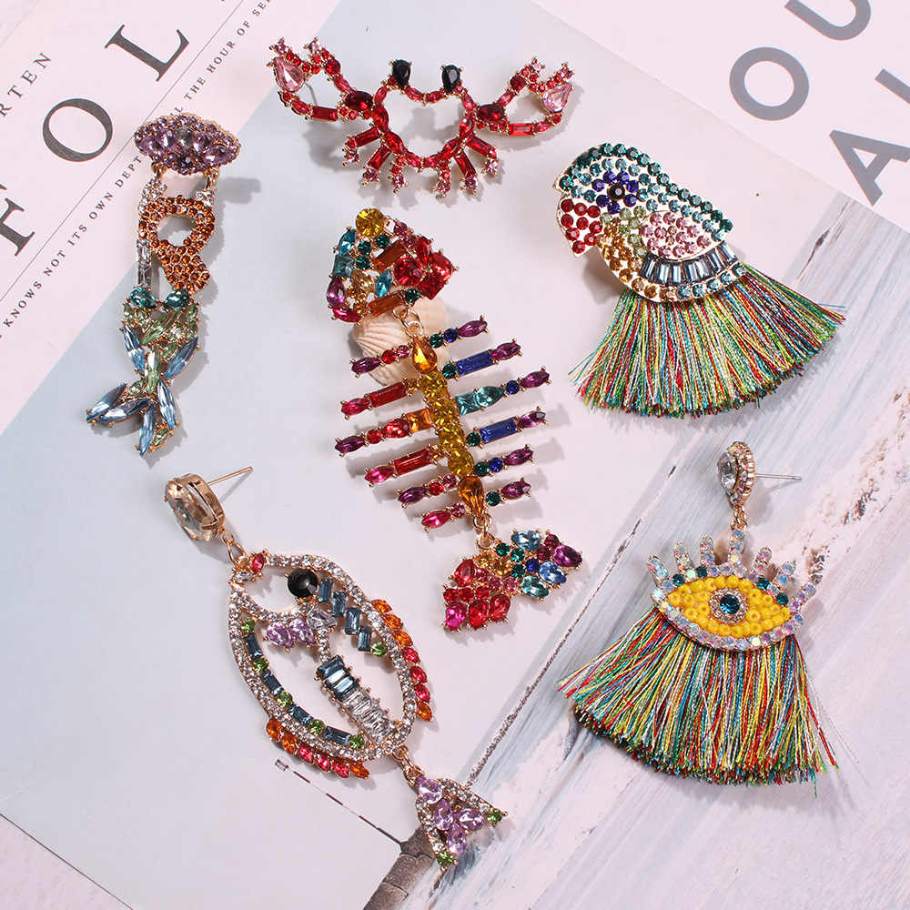 KMVEXO Fish Bird Crab Earrings for Women 2019 Colorful Crystal Drop Boho Tassel Hanging Earrings Bridal Party Statement Jewelry